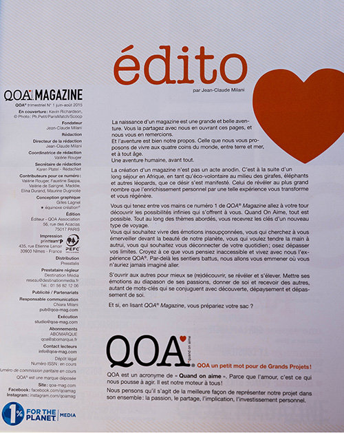 QOA Magazine édito numéro juin 2015